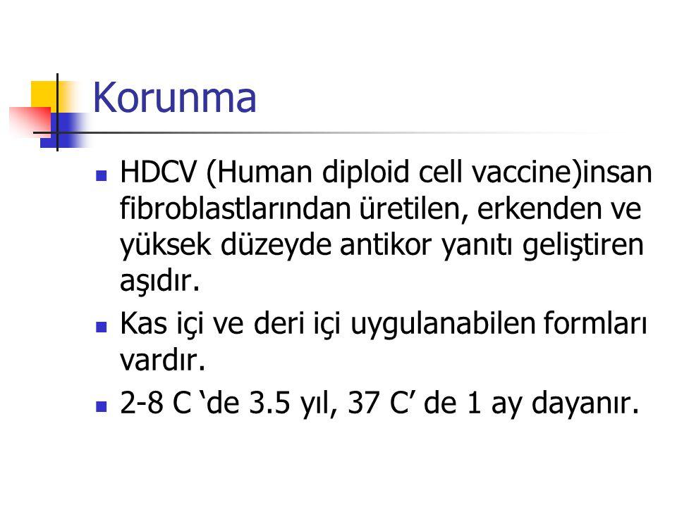 Korunma HDCV (Human diploid cell vaccine)insan fibroblastlarından üretilen, erkenden ve yüksek düzeyde antikor yanıtı geliştiren aşıdır. Kas içi ve de
