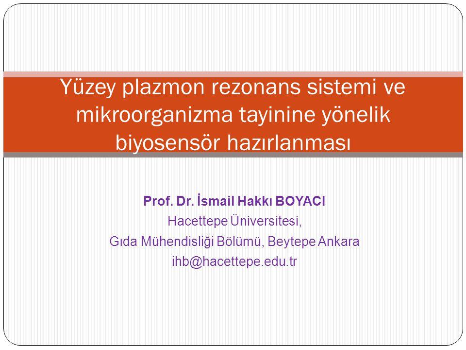 Prof. Dr. İsmail Hakkı BOYACI Hacettepe Üniversitesi, Gıda Mühendisliği Bölümü, Beytepe Ankara ihb@hacettepe.edu.tr Yüzey plazmon rezonans sistemi ve