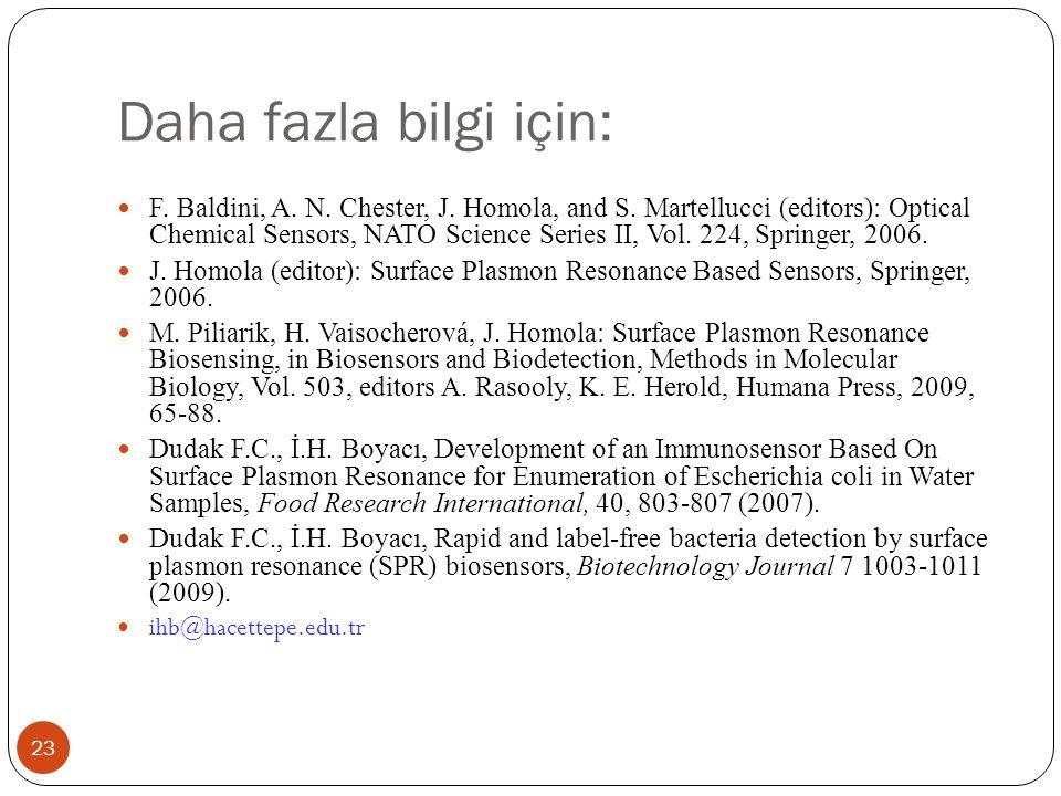 Daha fazla bilgi için: 23 F. Baldini, A. N. Chester, J. Homola, and S. Martellucci (editors): Optical Chemical Sensors, NATO Science Series II, Vol. 2