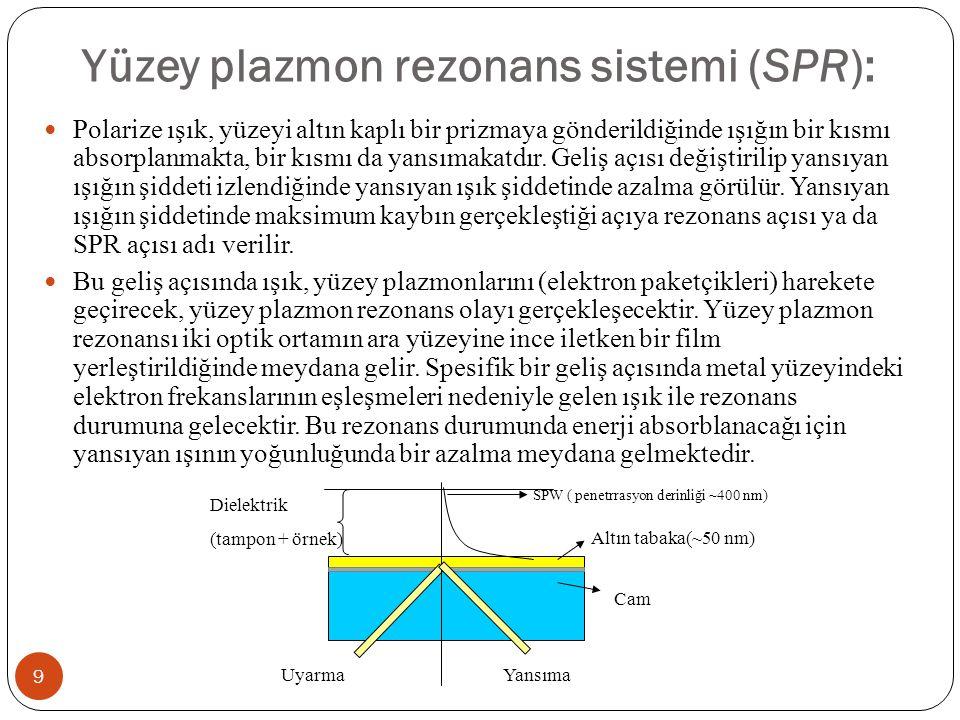 Yüzey plazmon rezonans sistemi (SPR): 9 Polarize ışık, yüzeyi altın kaplı bir prizmaya gönderildiğinde ışığın bir kısmı absorplanmakta, bir kısmı da y