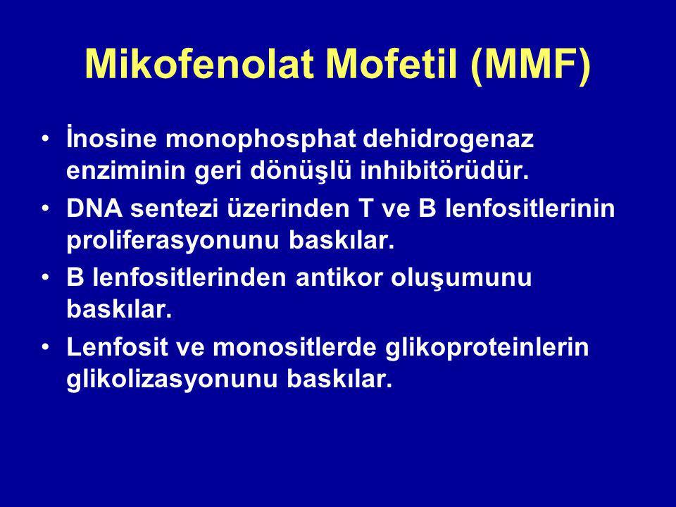 Mikofenolat Mofetil (MMF) İnosine monophosphat dehidrogenaz enziminin geri dönüşlü inhibitörüdür.