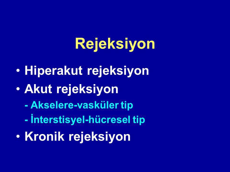 Rejeksiyon Hiperakut rejeksiyon Akut rejeksiyon - Akselere-vasküler tip - İnterstisyel-hücresel tip Kronik rejeksiyon