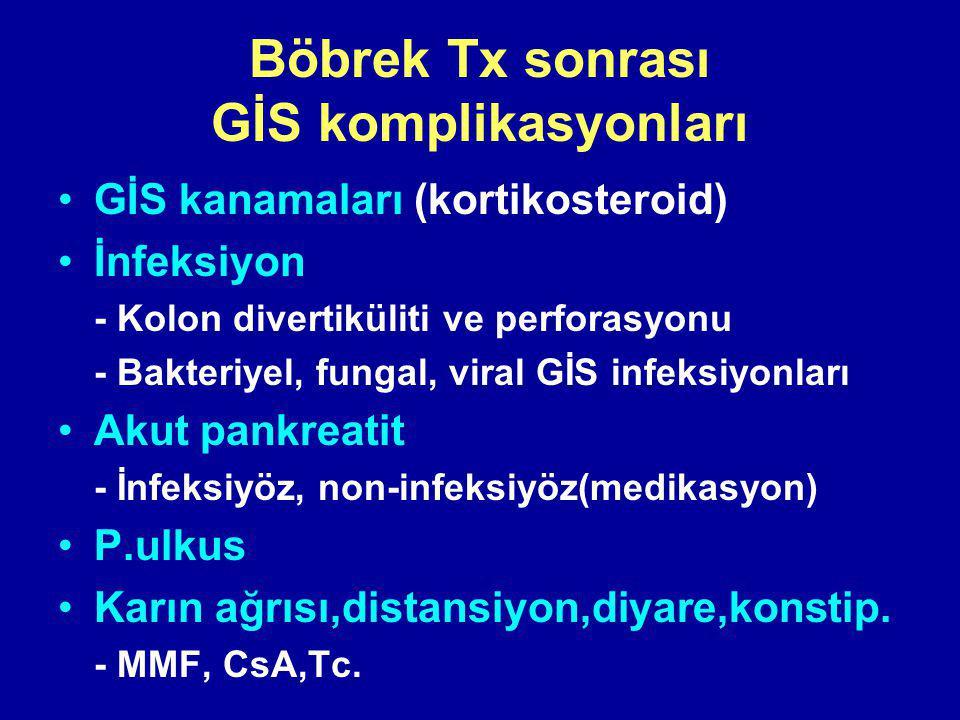 Böbrek Tx sonrası GİS komplikasyonları GİS kanamaları (kortikosteroid) İnfeksiyon - Kolon divertiküliti ve perforasyonu - Bakteriyel, fungal, viral GİS infeksiyonları Akut pankreatit - İnfeksiyöz, non-infeksiyöz(medikasyon) P.ulkus Karın ağrısı,distansiyon,diyare,konstip.