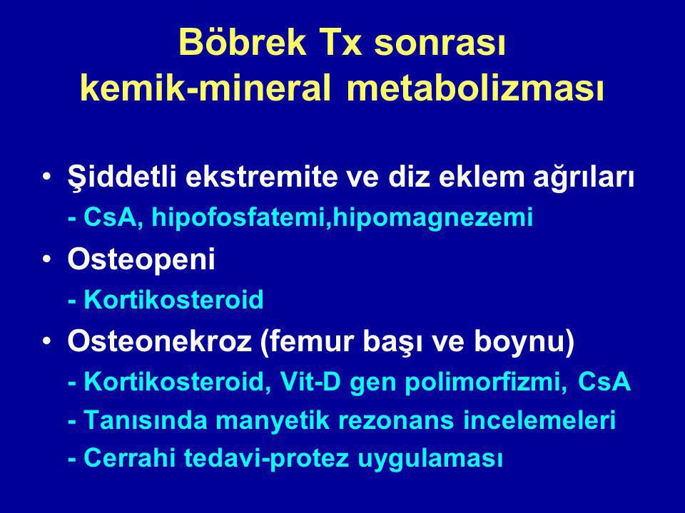 Böbrek Tx sonrası kemik-mineral metabolizması Şiddetli ekstremite ve diz eklem ağrıları - CsA, hipofosfatemi,hipomagnezemi Osteopeni - Kortikosteroid Osteonekroz (femur başı ve boynu) - Kortikosteroid, Vit-D gen polimorfizmi, CsA - Tanısında manyetik rezonans incelemeleri - Cerrahi tedavi-protez uygulaması