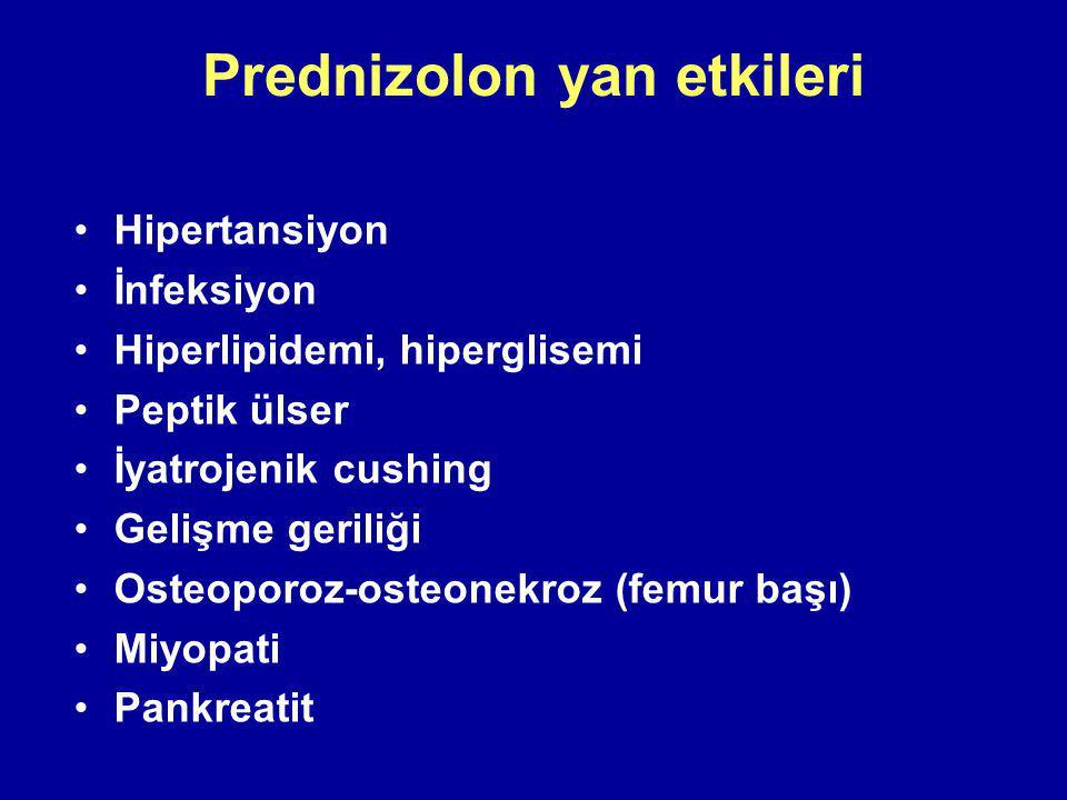 Prednizolon yan etkileri Hipertansiyon İnfeksiyon Hiperlipidemi, hiperglisemi Peptik ülser İyatrojenik cushing Gelişme geriliği Osteoporoz-osteonekroz (femur başı) Miyopati Pankreatit