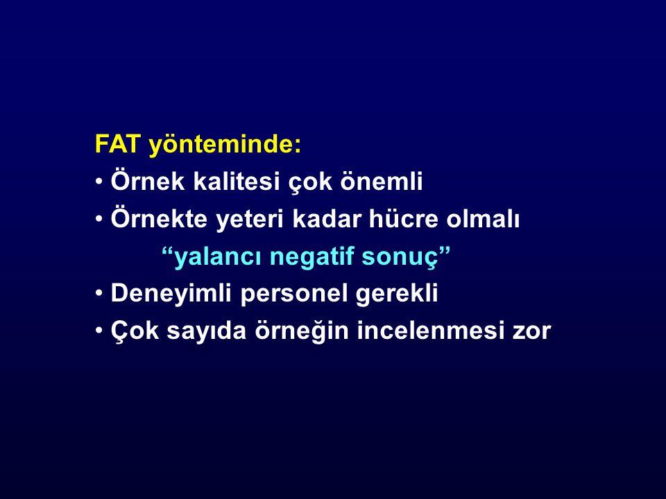 FAT yönteminde: Örnek kalitesi çok önemli Örnekte yeteri kadar hücre olmalı yalancı negatif sonuç Deneyimli personel gerekli Çok sayıda örneğin incelenmesi zor