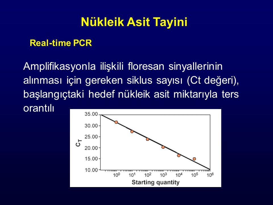 Amplifikasyonla ilişkili floresan sinyallerinin alınması için gereken siklus sayısı (Ct değeri), başlangıçtaki hedef nükleik asit miktarıyla ters orantılı Nükleik Asit Tayini Real-time PCR