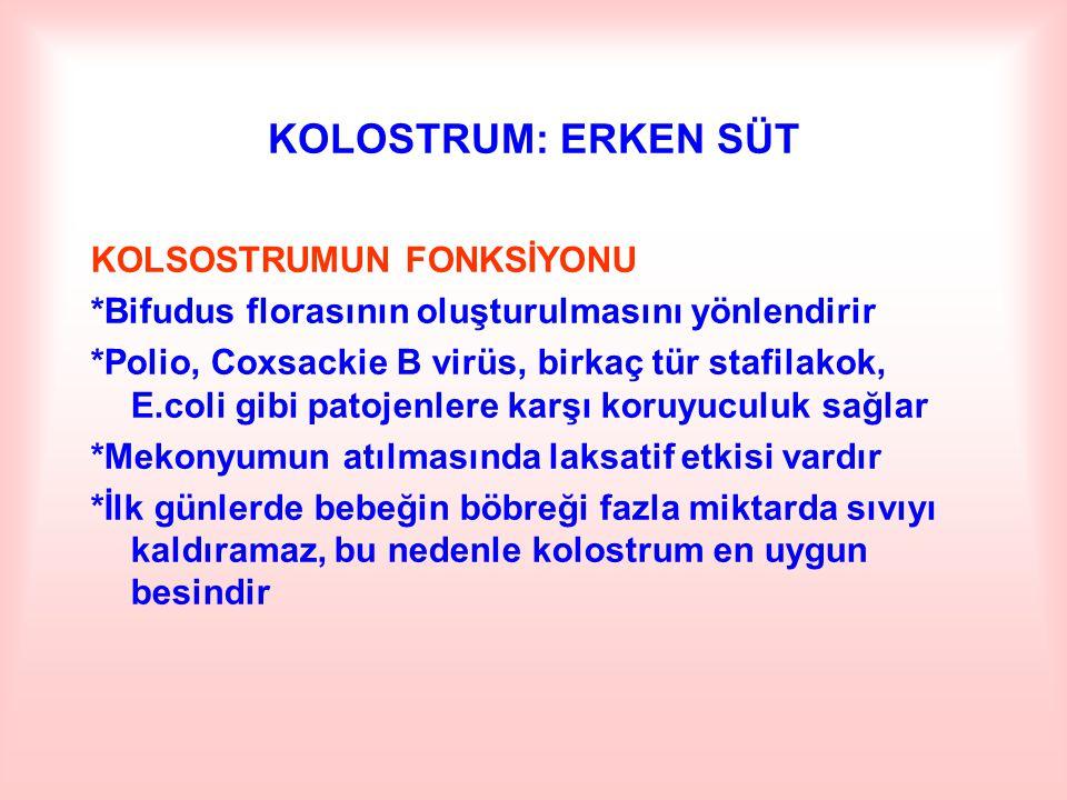 KOLOSTRUM: ERKEN SÜT KOLSOSTRUMUN FONKSİYONU *Bifudus florasının oluşturulmasını yönlendirir *Polio, Coxsackie B virüs, birkaç tür stafilakok, E.coli