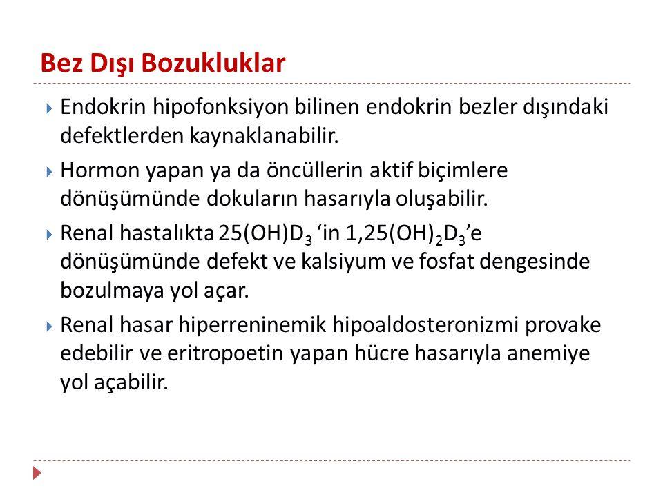 Bez Dışı Bozukluklar  Endokrin hipofonksiyon bilinen endokrin bezler dışındaki defektlerden kaynaklanabilir.  Hormon yapan ya da öncüllerin aktif bi