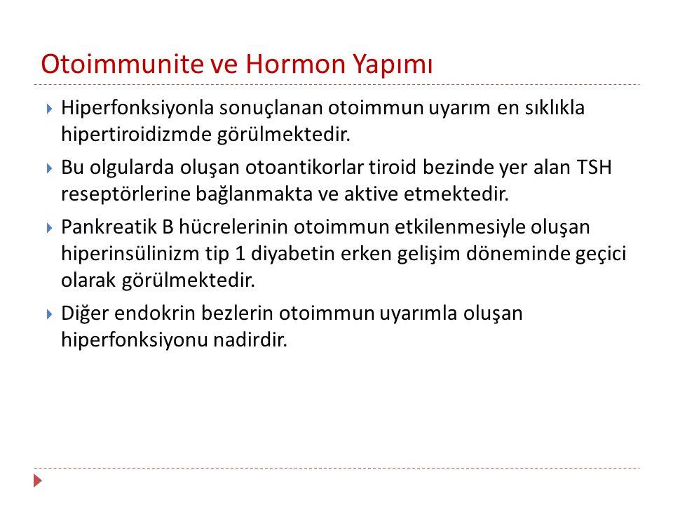Otoimmunite ve Hormon Yapımı  Hiperfonksiyonla sonuçlanan otoimmun uyarım en sıklıkla hipertiroidizmde görülmektedir.  Bu olgularda oluşan otoantiko
