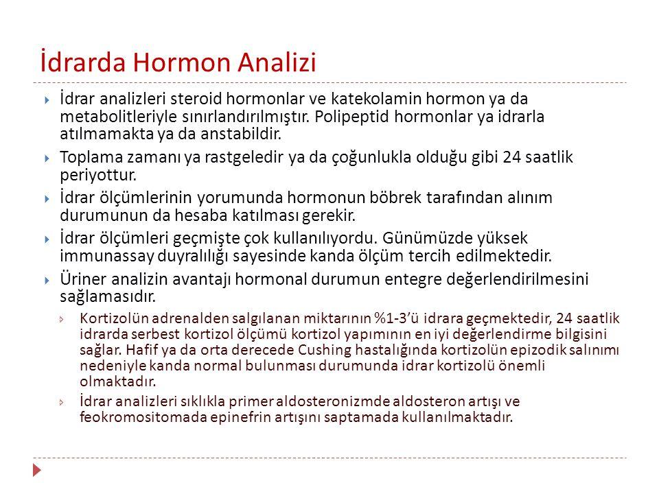 İdrarda Hormon Analizi  İdrar analizleri steroid hormonlar ve katekolamin hormon ya da metabolitleriyle sınırlandırılmıştır. Polipeptid hormonlar ya