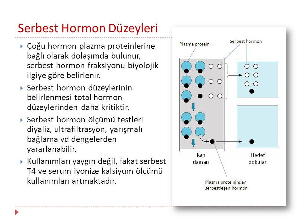 Serbest Hormon Düzeyleri  Çoğu hormon plazma proteinlerine bağlı olarak dolaşımda bulunur, serbest hormon fraksiyonu biyolojik ilgiye göre belirlenir