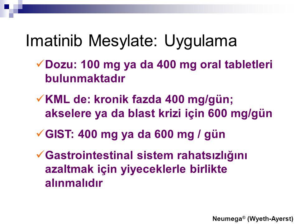 Imatinib Mesylate: Uygulama Dozu: 100 mg ya da 400 mg oral tabletleri bulunmaktadır KML de: kronik fazda 400 mg/gün; akselere ya da blast krizi için 6