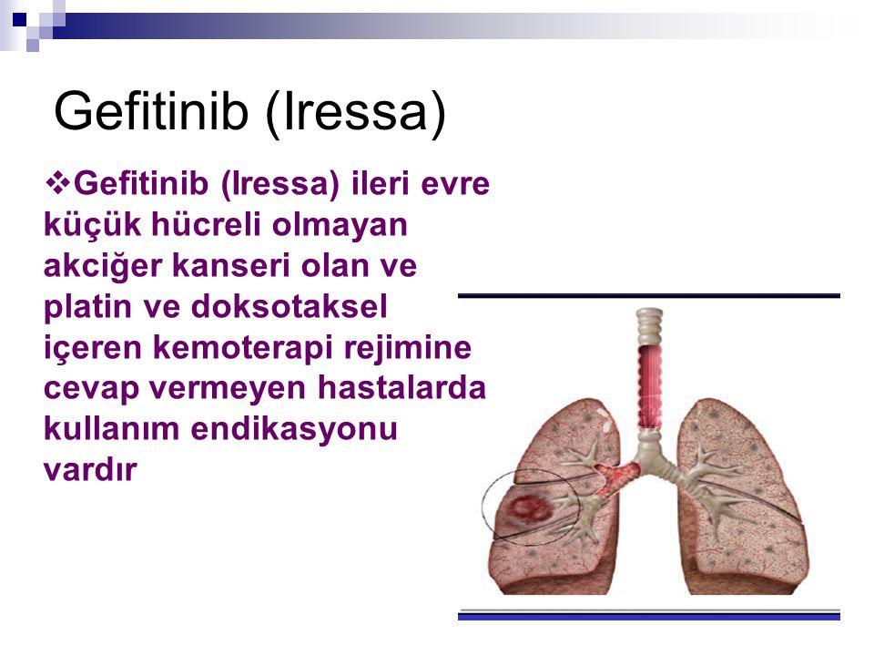 Gefitinib (Iressa)  Gefitinib (Iressa) ileri evre küçük hücreli olmayan akciğer kanseri olan ve platin ve doksotaksel içeren kemoterapi rejimine ceva