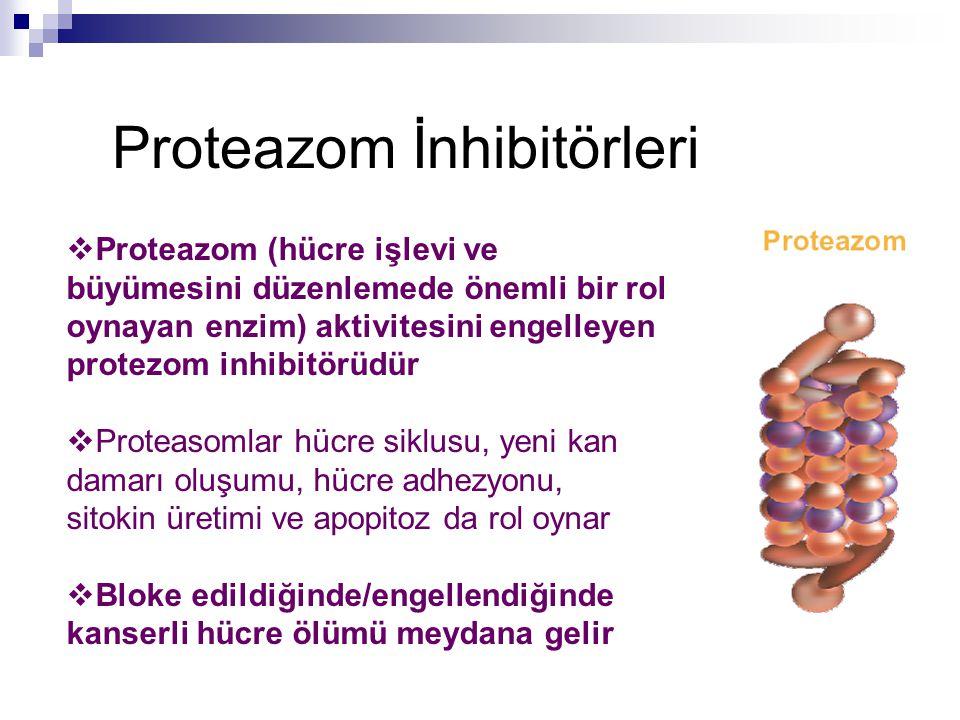 Proteazom İnhibitörleri  Proteazom (hücre işlevi ve büyümesini düzenlemede önemli bir rol oynayan enzim) aktivitesini engelleyen protezom inhibitörüd