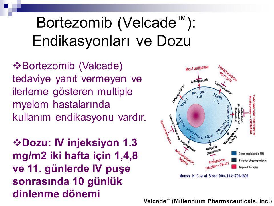 Bortezomib (Velcade ™ ): Endikasyonları ve Dozu  Bortezomib (Valcade) tedaviye yanıt vermeyen ve ilerleme gösteren multiple myelom hastalarında kulla