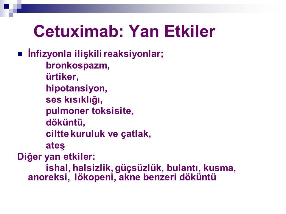 Cetuximab: Yan Etkiler İnfizyonla ilişkili reaksiyonlar; bronkospazm, ürtiker, hipotansiyon, ses kısıklığı, pulmoner toksisite, döküntü, ciltte kurulu