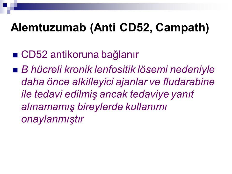 Alemtuzumab (Anti CD52, Campath) CD52 antikoruna bağlanır B hücreli kronik lenfositik lösemi nedeniyle daha önce alkilleyici ajanlar ve fludarabine il