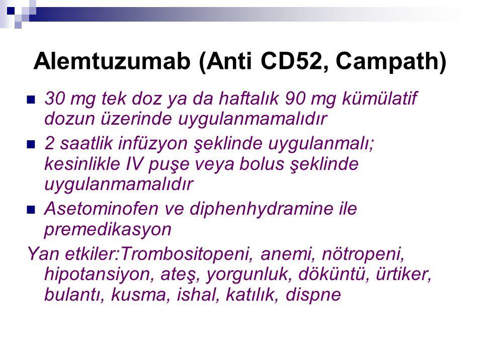 Alemtuzumab (Anti CD52, Campath) 30 mg tek doz ya da haftalık 90 mg kümülatif dozun üzerinde uygulanmamalıdır 2 saatlik infüzyon şeklinde uygulanmalı;