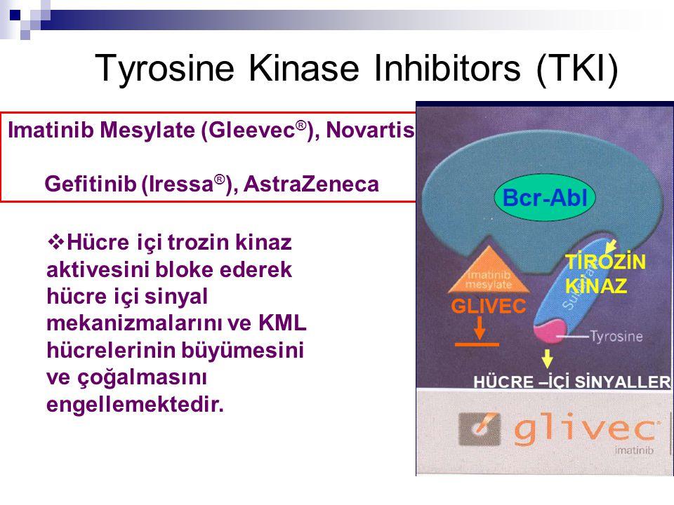 Tyrosine Kinase Inhibitors (TKI) Imatinib Mesylate (Gleevec ® ), Novartis Gefitinib (Iressa ® ), AstraZeneca  Hücre içi trozin kinaz aktivesini bloke