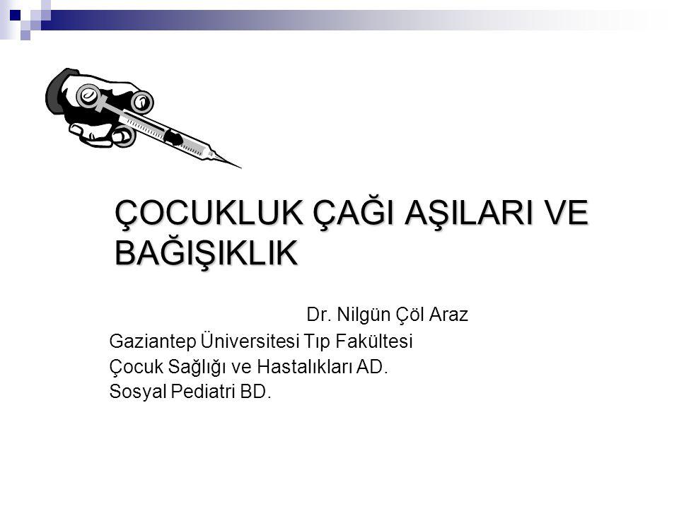 ÇOCUKLUK ÇAĞI AŞILARI VE BAĞIŞIKLIK Dr. Nilgün Çöl Araz Gaziantep Üniversitesi Tıp Fakültesi Çocuk Sağlığı ve Hastalıkları AD. Sosyal Pediatri BD.