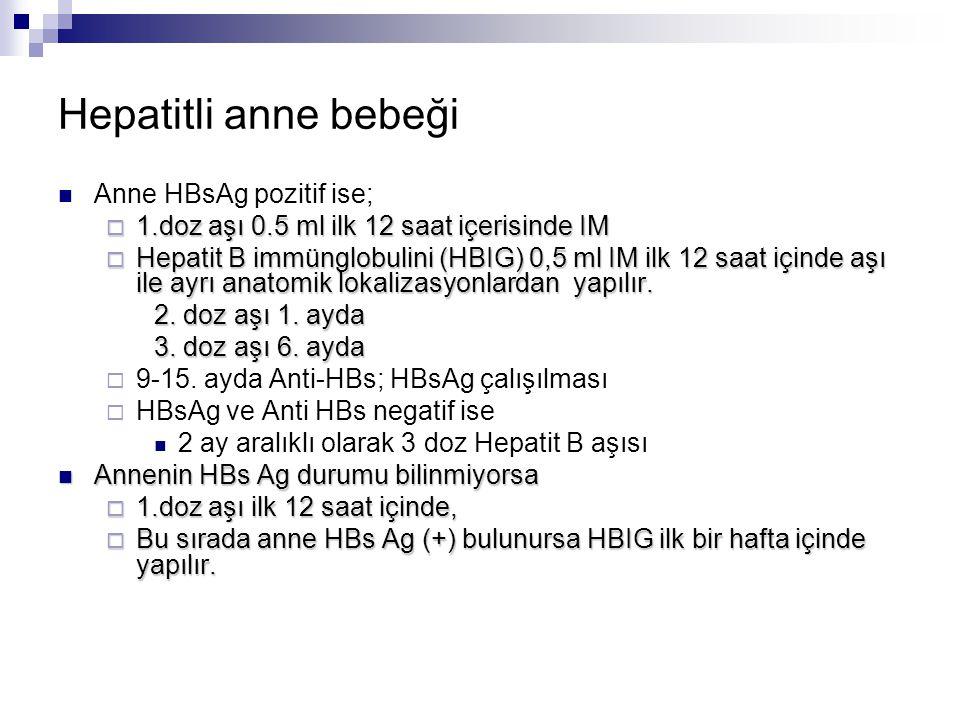Hepatitli anne bebeği Anne HBsAg pozitif ise;  1.doz aşı 0.5 ml ilk 12 saat içerisinde IM  Hepatit B immünglobulini (HBIG) 0,5 ml IM ilk 12 saat içi