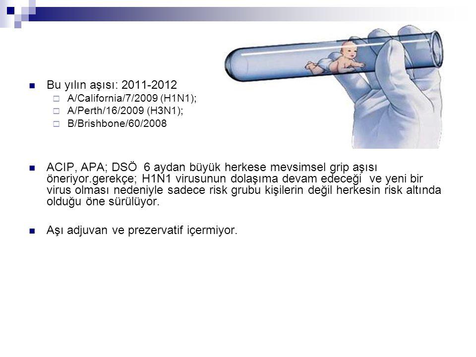 Bu yılın aşısı: 2011-2012  A/California/7/2009 (H1N1);  A/Perth/16/2009 (H3N1);  B/Brishbone/60/2008 ACIP, APA; DSÖ 6 aydan büyük herkese mevsimsel