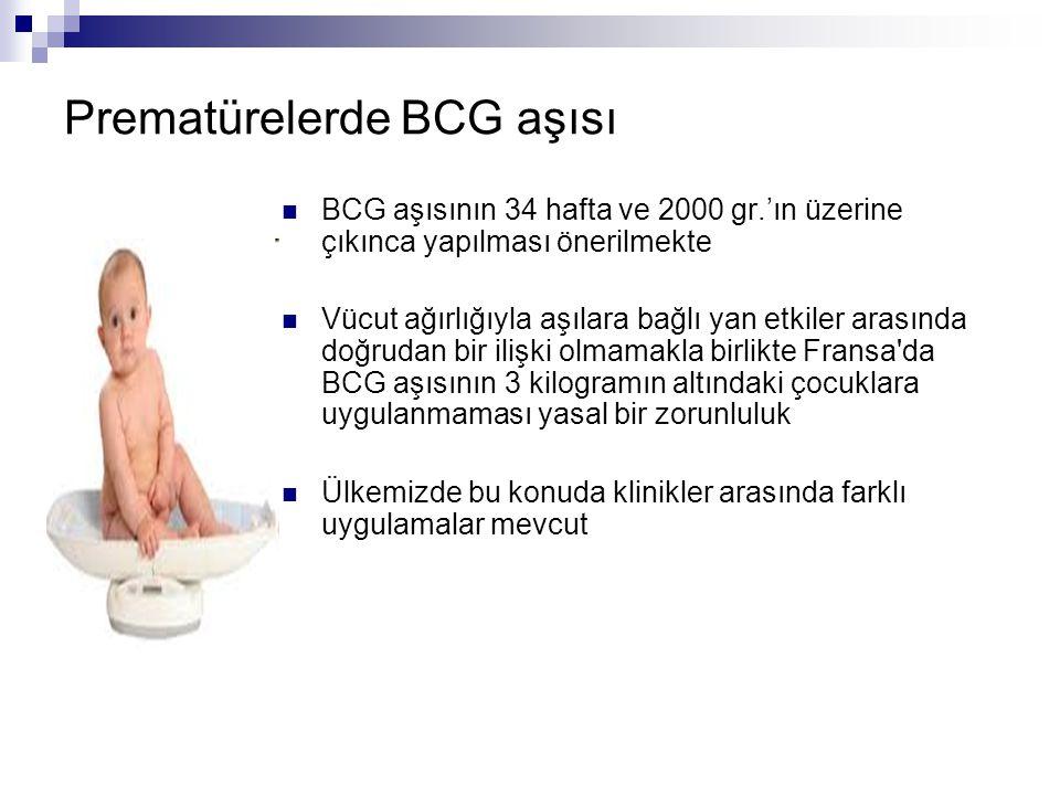 Prematürelerde BCG aşısı BCG aşısının 34 hafta ve 2000 gr.'ın üzerine çıkınca yapılması önerilmekte Vücut ağırlığıyla aşılara bağlı yan etkiler arasın