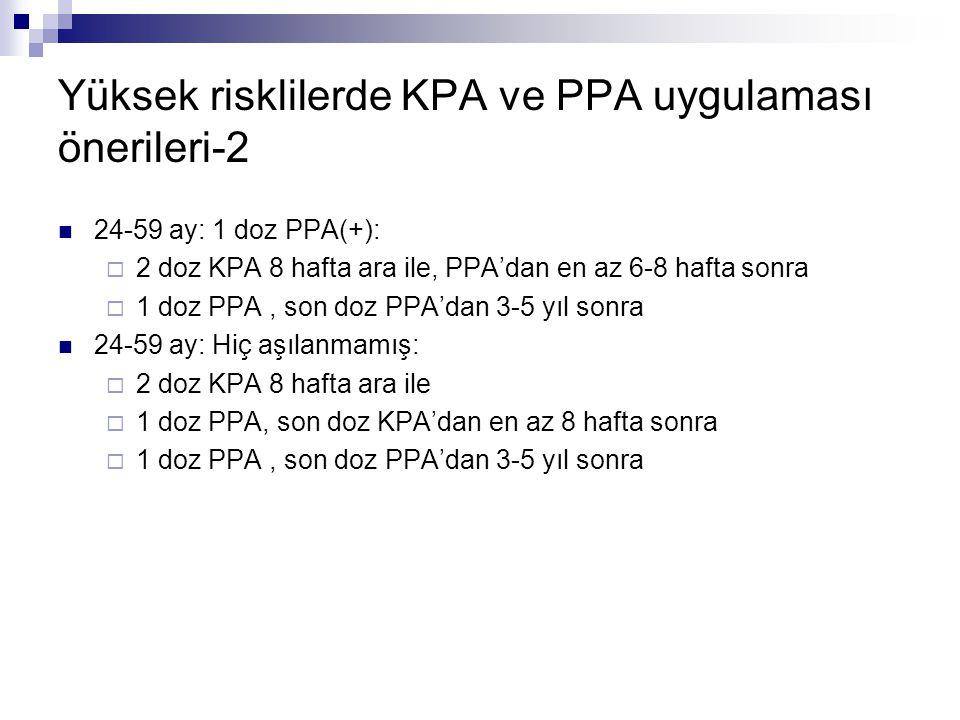 Yüksek risklilerde KPA ve PPA uygulaması önerileri-2 24-59 ay: 1 doz PPA(+):  2 doz KPA 8 hafta ara ile, PPA'dan en az 6-8 hafta sonra  1 doz PPA, s