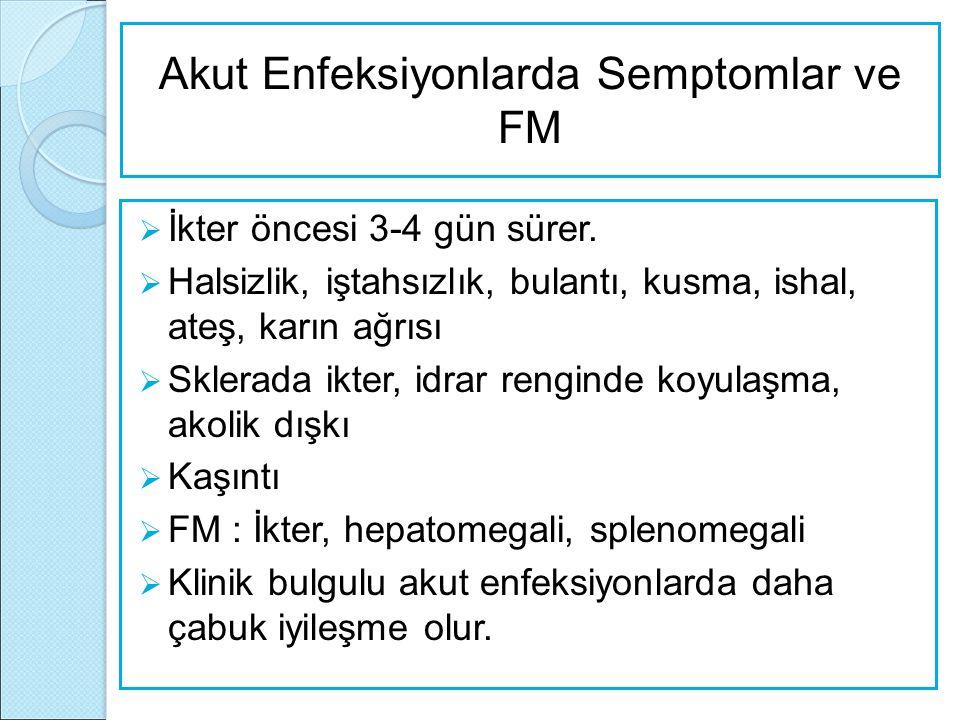 Akut Enfeksiyonlarda Semptomlar ve FM  İkter öncesi 3-4 gün sürer.  Halsizlik, iştahsızlık, bulantı, kusma, ishal, ateş, karın ağrısı  Sklerada ikt