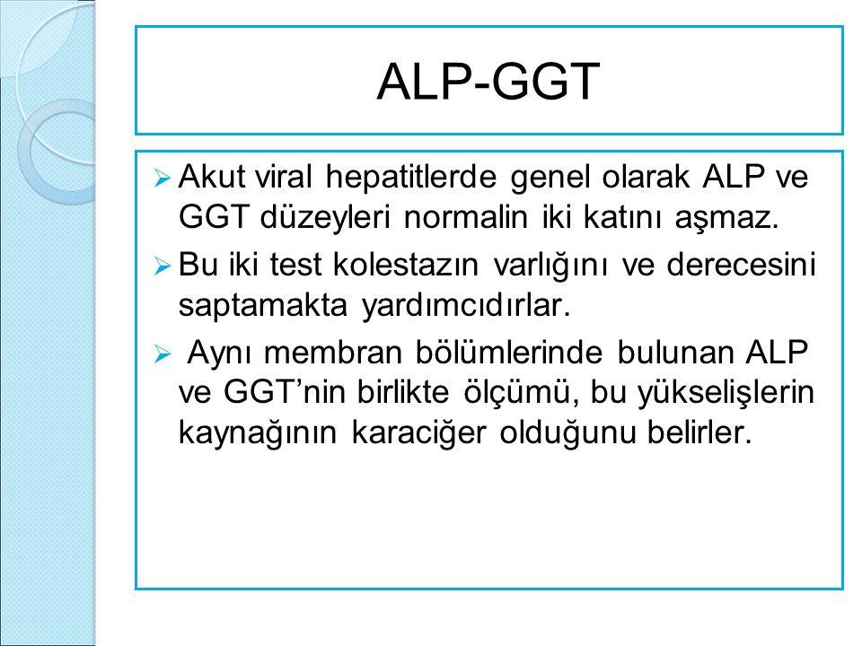 ALP-GGT  Akut viral hepatitlerde genel olarak ALP ve GGT düzeyleri normalin iki katını aşmaz.  Bu iki test kolestazın varlığını ve derecesini saptam