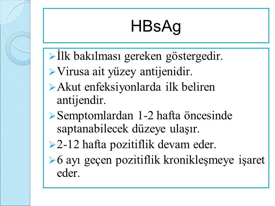 HBsAg  İlk bakılması gereken göstergedir.  Virusa ait yüzey antijenidir.  Akut enfeksiyonlarda ilk beliren antijendir.  Semptomlardan 1-2 hafta ön