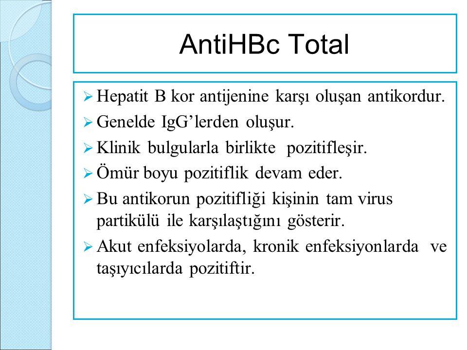 AntiHBc Total  Hepatit B kor antijenine karşı oluşan antikordur.  Genelde IgG'lerden oluşur.  Klinik bulgularla birlikte pozitifleşir.  Ömür boyu