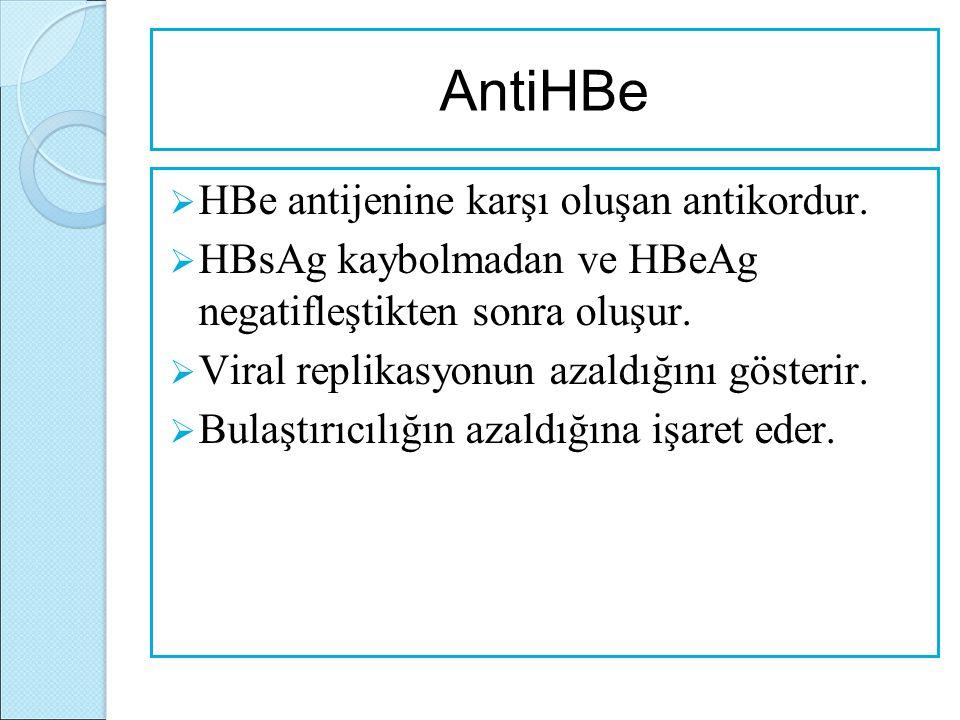 AntiHBe  HBe antijenine karşı oluşan antikordur.  HBsAg kaybolmadan ve HBeAg negatifleştikten sonra oluşur.  Viral replikasyonun azaldığını gösteri