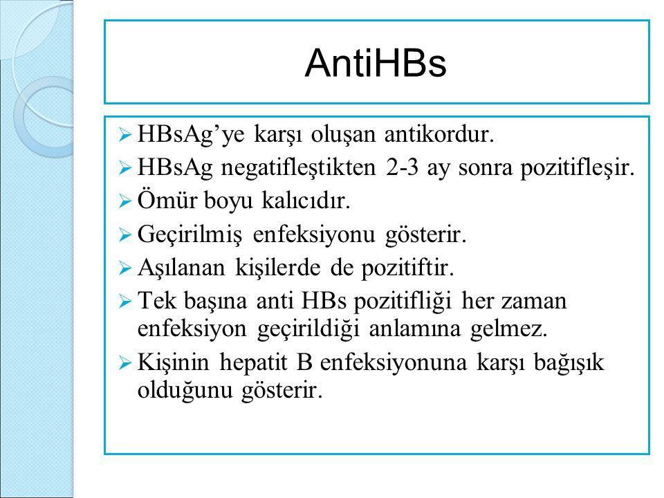 AntiHBs  HBsAg'ye karşı oluşan antikordur.  HBsAg negatifleştikten 2-3 ay sonra pozitifleşir.  Ömür boyu kalıcıdır.  Geçirilmiş enfeksiyonu göster