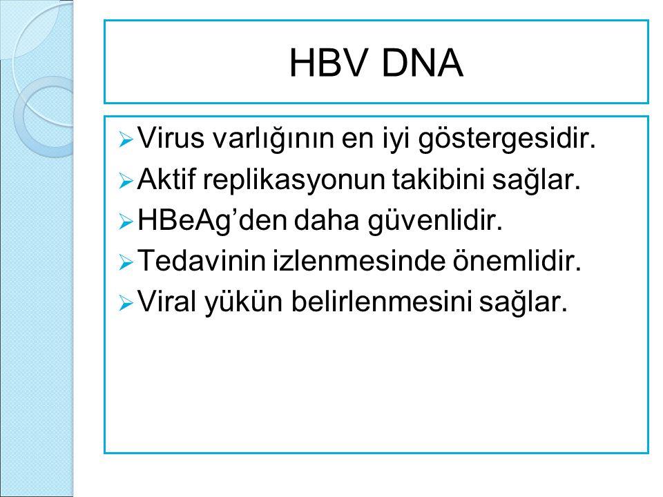 HBV DNA  Virus varlığının en iyi göstergesidir.  Aktif replikasyonun takibini sağlar.  HBeAg'den daha güvenlidir.  Tedavinin izlenmesinde önemlidi