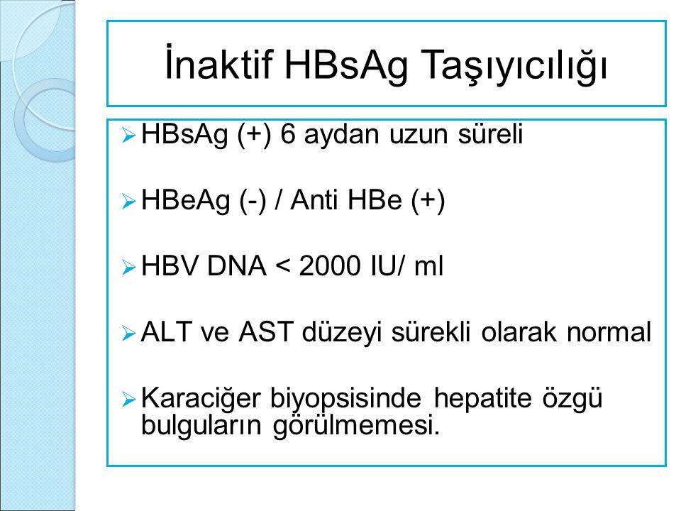  HBsAg (+) 6 aydan uzun süreli  HBeAg (-) / Anti HBe (+)  HBV DNA < 2000 IU/ ml  ALT ve AST düzeyi sürekli olarak normal  Karaciğer biyopsisinde