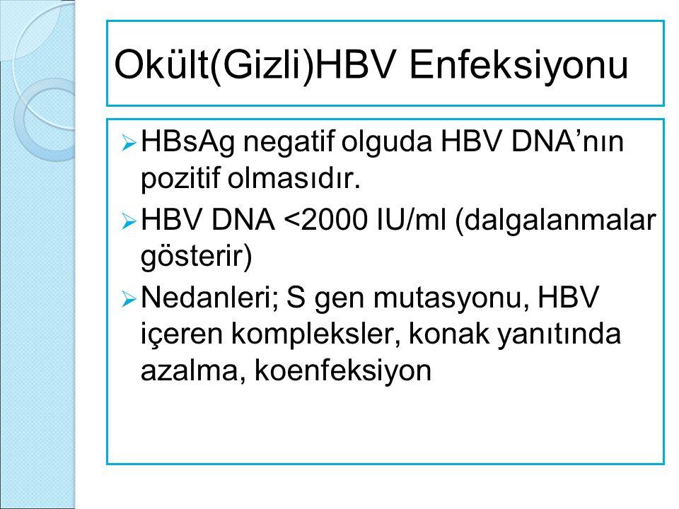 Okült(Gizli)HBV Enfeksiyonu  HBsAg negatif olguda HBV DNA'nın pozitif olmasıdır.  HBV DNA <2000 IU/ml (dalgalanmalar gösterir)  Nedanleri; S gen mu