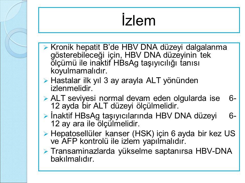 İzlem  Kronik hepatit B'de HBV DNA düzeyi dalgalanma gösterebileceği için, HBV DNA düzeyinin tek ölçümü ile inaktif HBsAg taşıyıcılığı tanısı koyulma