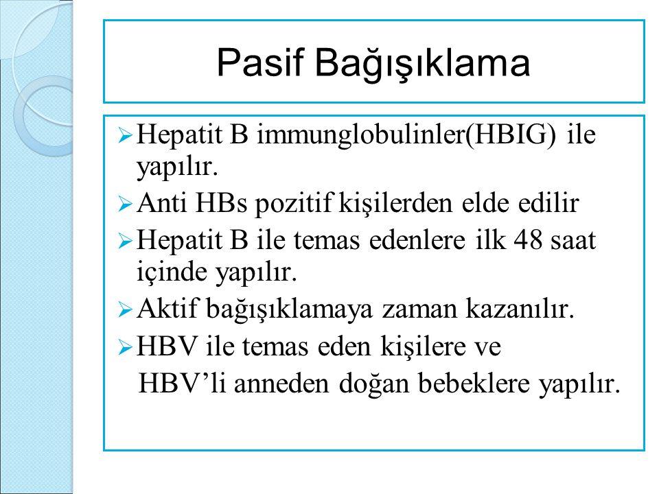 Pasif Bağışıklama  Hepatit B immunglobulinler(HBIG) ile yapılır.  Anti HBs pozitif kişilerden elde edilir  Hepatit B ile temas edenlere ilk 48 saat