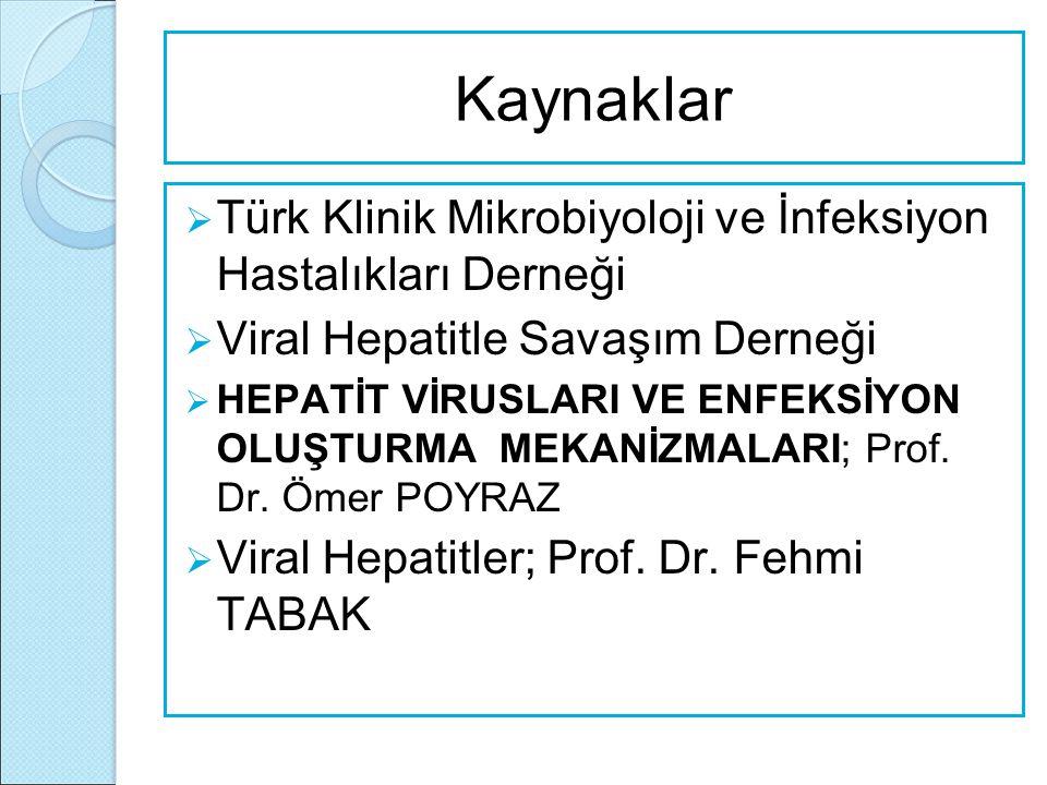 Kaynaklar  Türk Klinik Mikrobiyoloji ve İnfeksiyon Hastalıkları Derneği  Viral Hepatitle Savaşım Derneği  HEPATİT VİRUSLARI VE ENFEKSİYON OLUŞTURMA