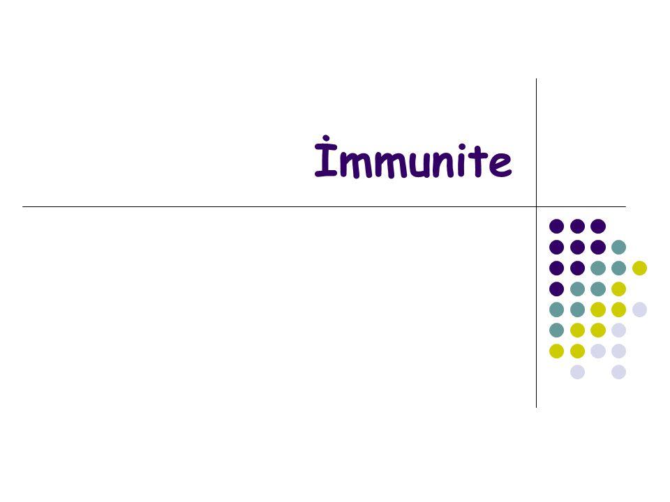 Bağışıklık (immünite): İnfeksiyon etkenlerine ve zehir etkisi gösteren maddelere karşı konakta direnç oluşmasıdır Bağışık Yanıt (immün yanıt): Konağın kendine yabancı maddeyi tanıması ve buna karşı yanıt vermesidir İmmünoloji bu bağışık yanıt ve buna bağlı klinik, patolojik ve laboratuvar olayları ile ilgilenen bilim dalıdır İmmün Sistem: İmmün yanıtı oluşturan hücreler ve organlardır