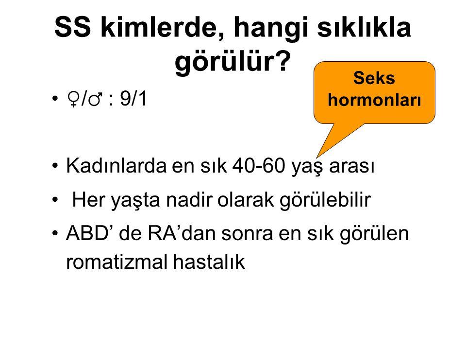 SS kimlerde, hangi sıklıkla görülür? ♀ / ♂ : 9/1 Kadınlarda en sık 40-60 yaş arası Her yaşta nadir olarak görülebilir ABD' de RA'dan sonra en sık görü