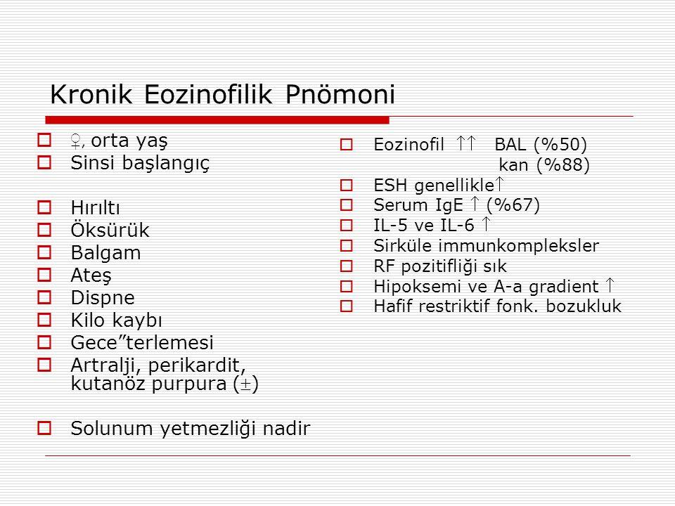 """Kronik Eozinofilik Pnömoni  ♀, orta yaş  Sinsi başlangıç  Hırıltı  Öksürük  Balgam  Ateş  Dispne  Kilo kaybı  Gece""""terlemesi  Artralji, peri"""