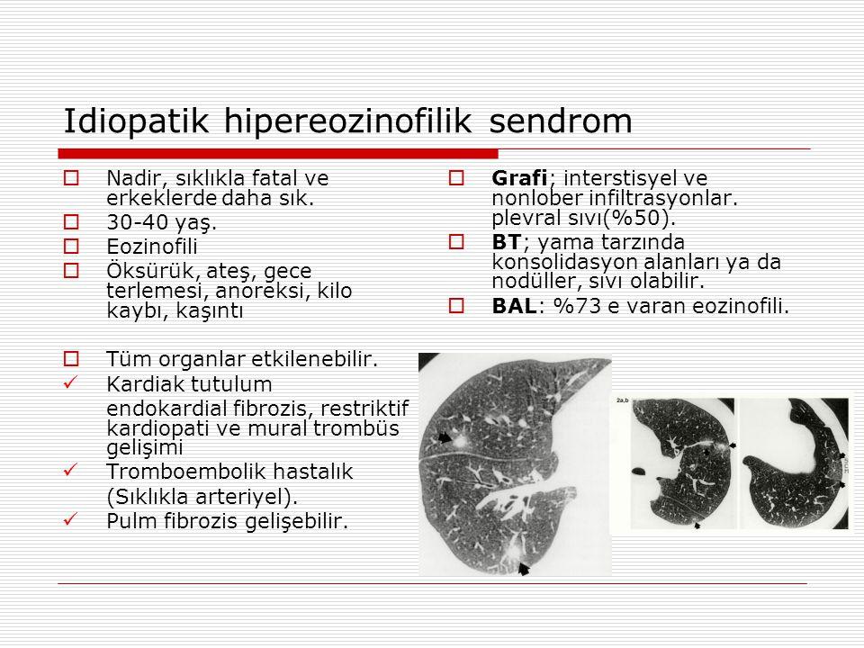 Idiopatik hipereozinofilik sendrom  Nadir, sıklıkla fatal ve erkeklerde daha sık.  30-40 yaş.  Eozinofili  Öksürük, ateş, gece terlemesi, anoreksi