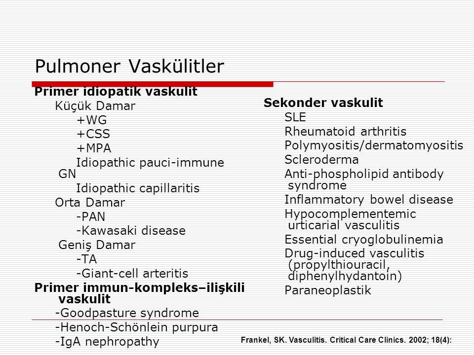 Primer idiopatik vaskulit Küçük Damar +WG +CSS +MPA Idiopathic pauci-immune GN Idiopathic capillaritis Orta Damar -PAN -Kawasaki disease Geniş Damar -