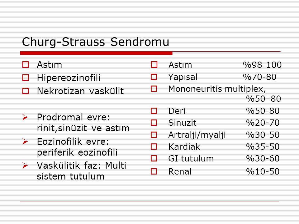 Churg-Strauss Sendromu  Astım  Hipereozinofili  Nekrotizan vaskülit  Prodromal evre: rinit,sinüzit ve astım  Eozinofilik evre: periferik eozinofi