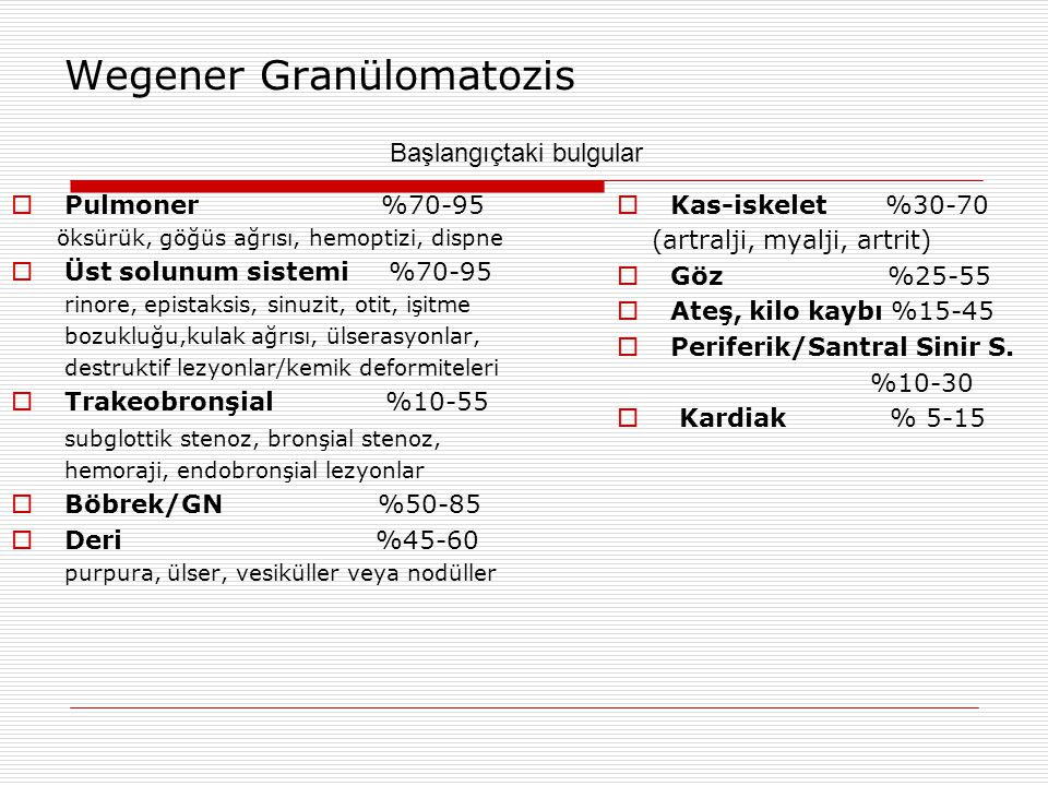 Wegener Granülomatozis  Pulmoner %70-95 öksürük, göğüs ağrısı, hemoptizi, dispne  Üst solunum sistemi %70-95 rinore, epistaksis, sinuzit, otit, işit