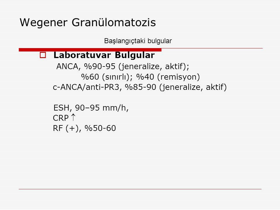 Wegener Granülomatozis  Laboratuvar Bulgular ANCA, %90-95 (jeneralize, aktif); %60 (sınırlı); %40 (remisyon) c-ANCA/anti-PR3, %85-90 (jeneralize, akt