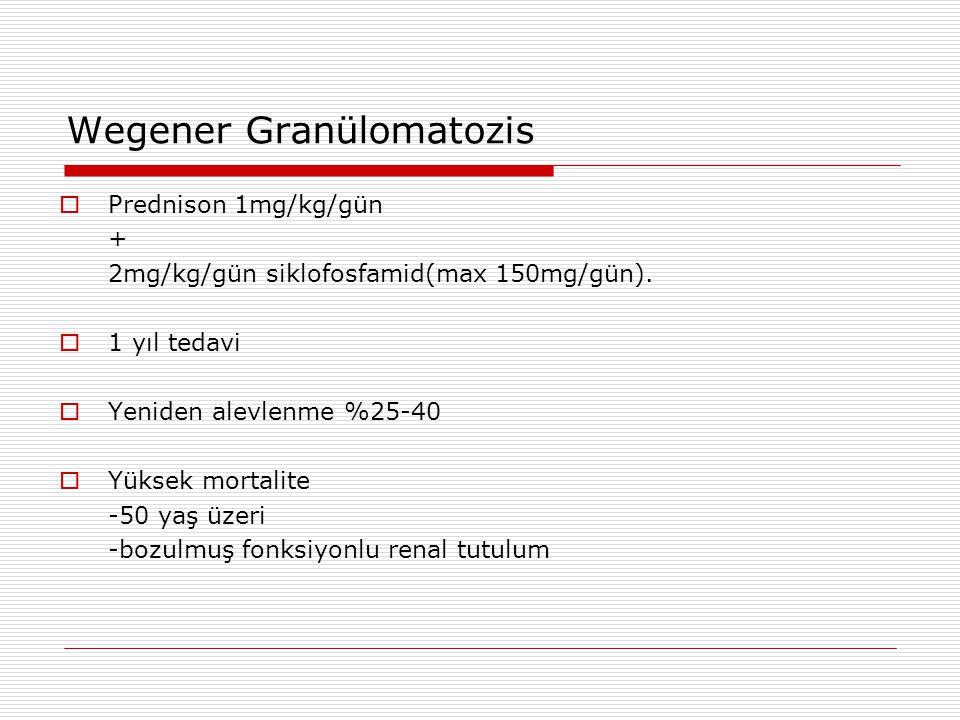 Wegener Granülomatozis  Prednison 1mg/kg/gün + 2mg/kg/gün siklofosfamid(max 150mg/gün).  1 yıl tedavi  Yeniden alevlenme %25-40  Yüksek mortalite
